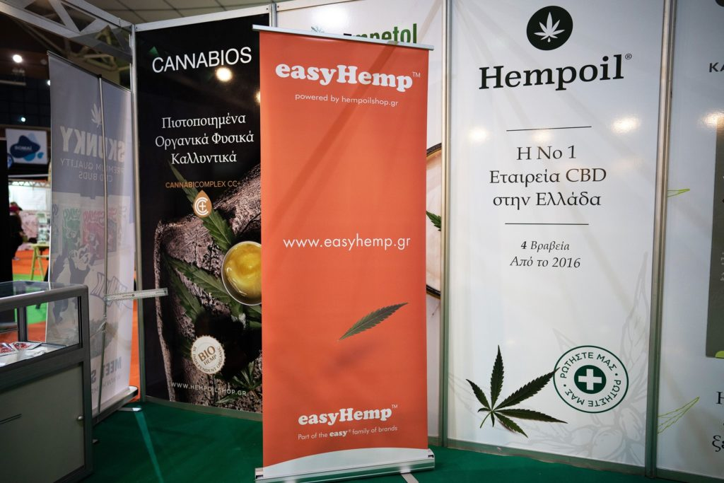 easyHemp banner at the athens cannabis expo
